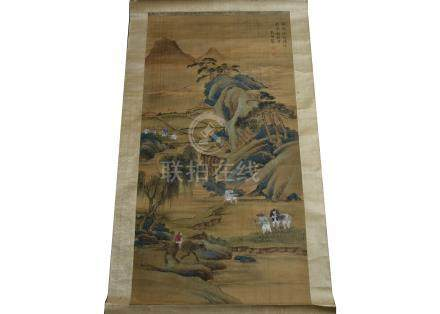 Two Chinese silk painted scrolls, depicting scenes of landscapes, together with a large folding