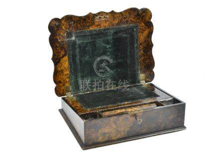 A 19th Century papier mache writing slope in the Gothic style, resembling oyster wood, with brass
