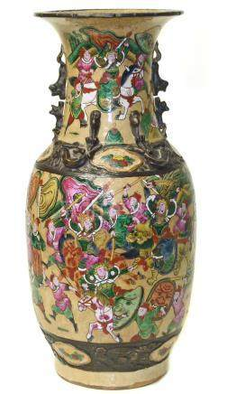Chinese vase decorated with Warriors in battle in Cantonese palette, 44cm high.