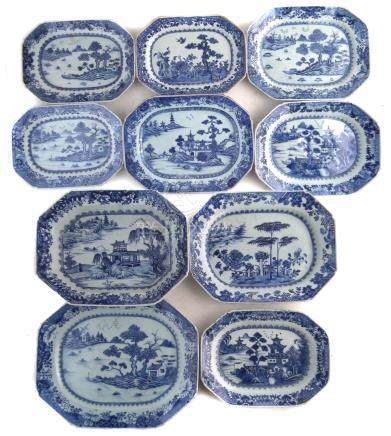 Ten Chinese export ware octagonal meat plates