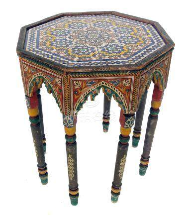 Early 20th century North African painted softwood occasional table.
