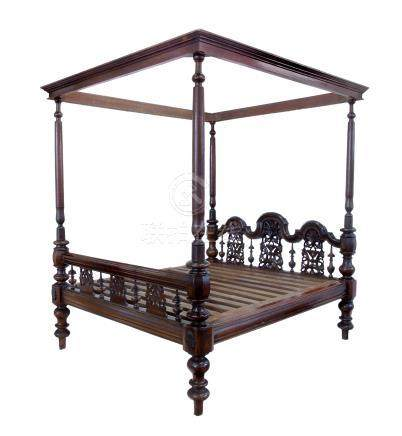 Indian hardwood four poster bed.