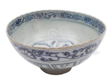 A Chinese blue and white bowl: with scalloped rim,