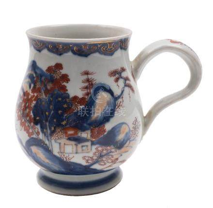 A Chinese Imari baluster mug and a Chinese famille rose crested cylindrical tankard: the first with