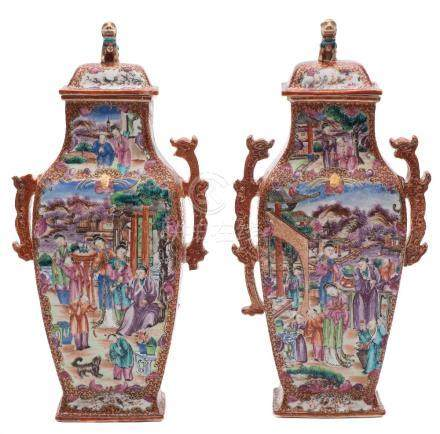 A pair of Chinese Mandarin pattern vases and covers: of flattened baluster form with chilong