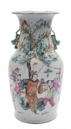 A Canton famille rose vase: the neck with lion dog handles and applied chilong,