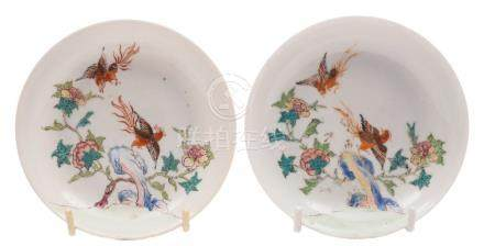 A pair of Chinese famille rose saucers: each finely painted with two phoenix,