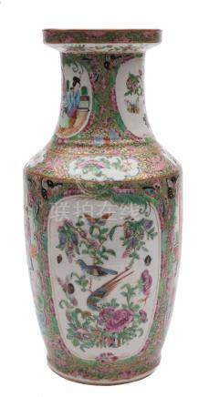 A Canton famille rose vase: of baluster form with waisted neck,