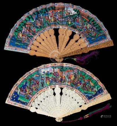 A 19th century Cantonese carved ivory 'Thousand faces' fan: with carved ivory sticks and guards,