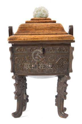 A Chinese archaic-style bronze censer: of rectangular section with flattened loop handles,