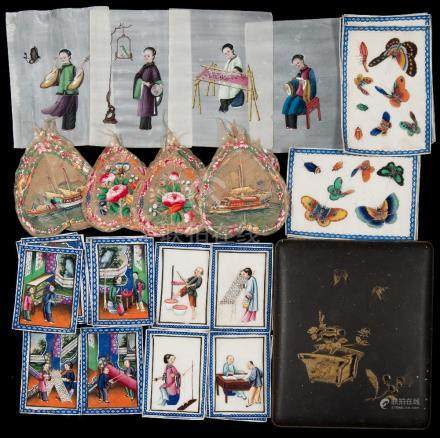 A collection of 19th century Cantonese pith paintings: depicting the manufacture of cloth and silks,