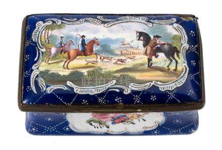 A late 18th century enamel oblong box: decorated with a hunting scene and floral sprays on a