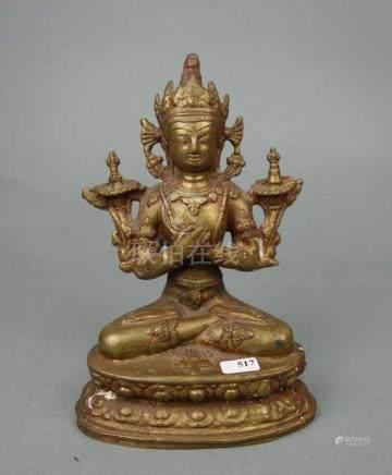 SKULPTUR: BUDDHA, Bronze - Gelbguss, Südostasien. Auf stilisiertem Lotusthron sitzender Buddha mit