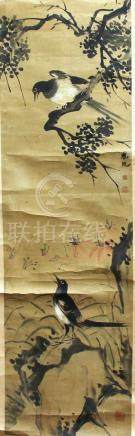COLLECTION OF CHINESE SCROLL PAINTINGS, each depicting a bird or birds amongst flowering foliage,