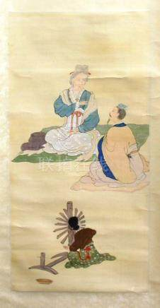 COLLECTION OF FOUR CHINESE SCROLL PAINTINGS, of figural scenes to include a master and pupil with