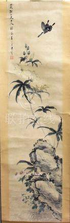 COLLECTION OF SEVEN CHINESE SCROLL PAINTINGS, to include one of two pink lotus flowers, possibly