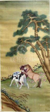 TWO CHINESE SCROLL PAINTINGS, the first of three horses beneath a pine tree, the second of various