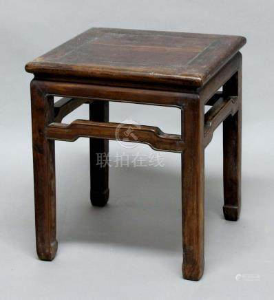CHINESE HARDWOOD SIDE TABLE, the square top above shaped stretchers, height 53cm, width 45cm,