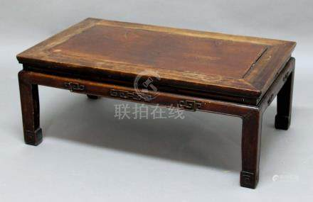 CHINESE HARDWOOD LOW TABLE, probably 19th century, with carved aprons and legs, height 36cm, width
