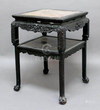 CHINESE HARDWOOD OCCASIONAL TABLE, the square top inset with rose marble above pierced frieze with
