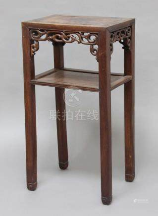 CHINESE ROSEWOOD STAND, late 19th century, of rectangular section, with pierced aprons and lower