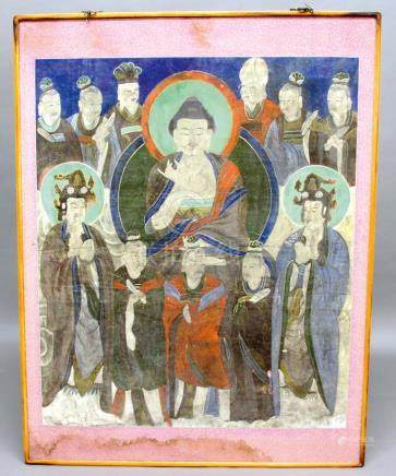 SOUTH EAST ASIAN THANGKA, possibly Korean, a central Immortal surrounded by eleven further