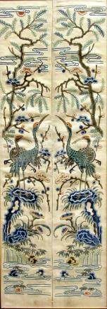 CHINESE SILK PICTURE, of two wading birds before iris flowers, 112cm x 36cm; together with a pair of