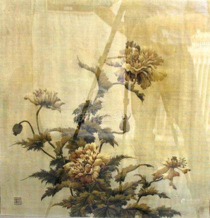 CHINESE PAINTING ON SILK, probably 19th century, of flowering poppies, from a larger picture,