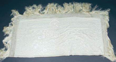 CHINESE EMBROIDERED CREAM SILK SHAWL, worked with scrolling flowers and foliage inside a broad, lace