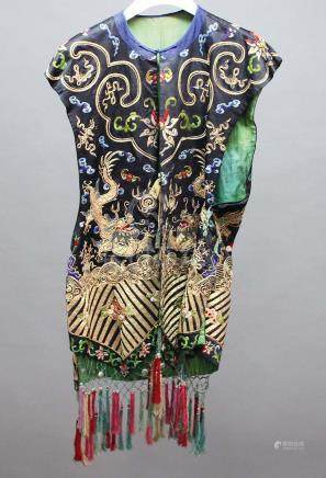 CHINESE EMBROIDERED SILK OVER GARMENT OR WAISTCOAT, 19th century, worked with gilt metal thread