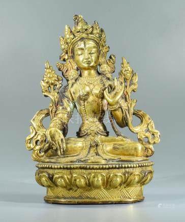 Sino-Tibetan Gilded Bronze Statue of Bodhisattva Chenrezig