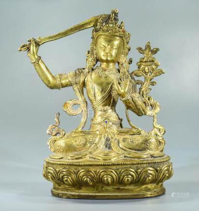 Sino-Tibetan Gilded Bronze Buddha Statue of Standing Buddha