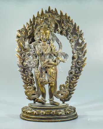 Sino-Tibetan Gilded Bronze Buddha Statue of Budha with Sword