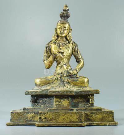 Sino-Tibetan Gilded Bronze Buddha Statue of Budha with Vajra