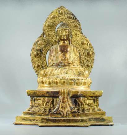 QUING GILT BRONZE SHAKYAMUNI BUDDHA