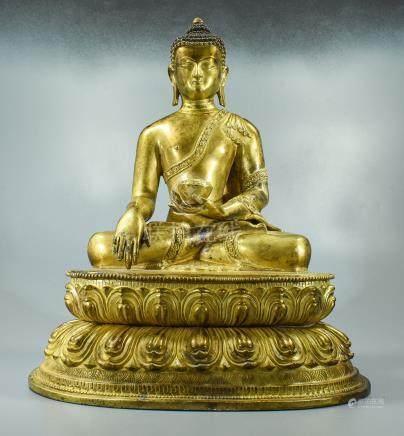 LARGE GILT BRONZE SHAKYAMUNI BUDDHA