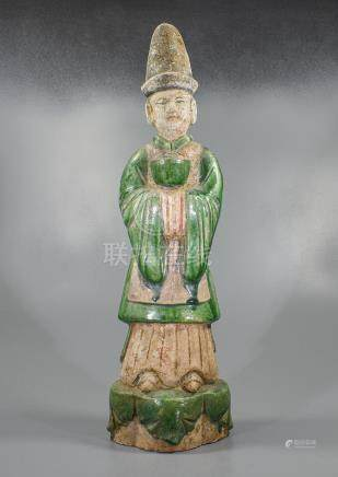 LARGE CHINESE MING DYNASTY ATTENDANT FIGURINE