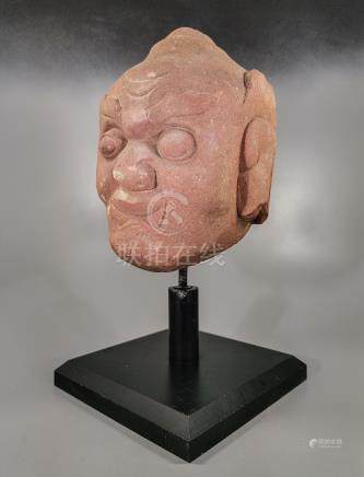 CHINESE MING RED STONE DEMON HEAD