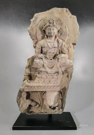 GANDHARA SCHIST RELIEF FIGURE OF A SEATED BODHISATTVA