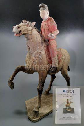 LARGE CHINESE TANG DECORATED TERRACOTTA HORSE- TL- tested