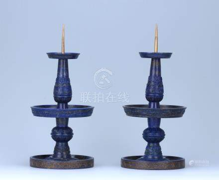 PAIR OF CHINESE LAPIS CANDLE HOLDERS
