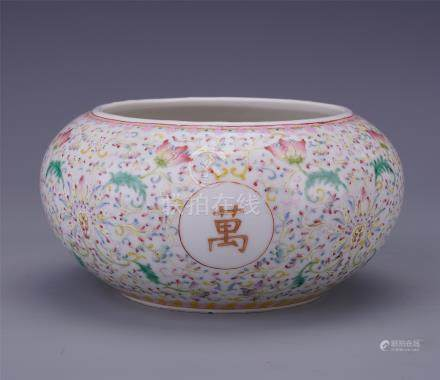 CHINESE PORCELAIN FAMILLE ROSE FLOWER WATER JAR