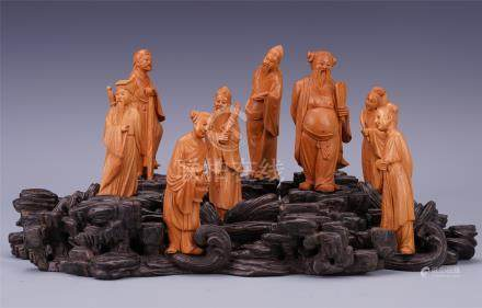 CIHNESE BOXWOOD EIGHT IMMORTALS ON ROSEWOOD BASE