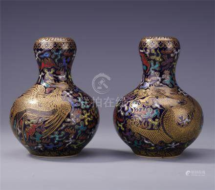 PAIR OF CHINESE CLOISONNE DRAGON PHOENIX VASES