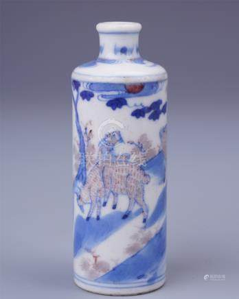 CHINESE PORCELAIN BLUE AND WHITE RED UNDER GLAZE DEER SNUFF BOTTLE