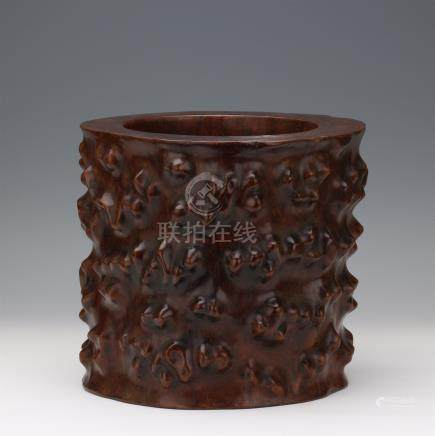 CHINESE HARDWOOD HUANGHUALI BRUSH POT