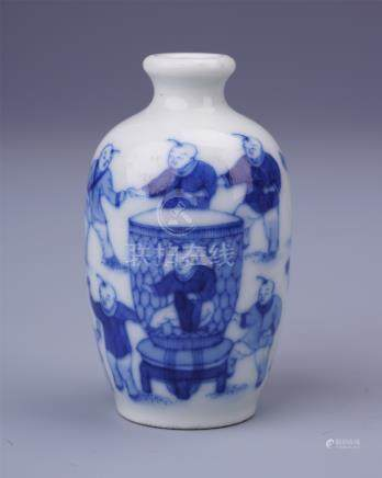 CHINESE PORCELAIN BLUE AND WHITE BOY PLAYING SNUFF BOTTLE