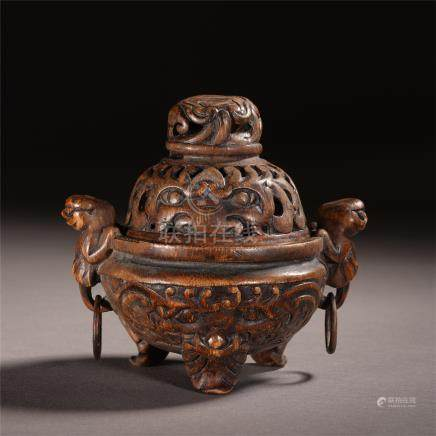 CHINESE BAMBOO CARVED TRIPLE FEET LIDDED CENSER