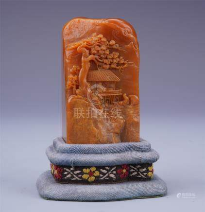CHINESE TIANHUANG STONE MAN IN MOUNTAIN SEAL