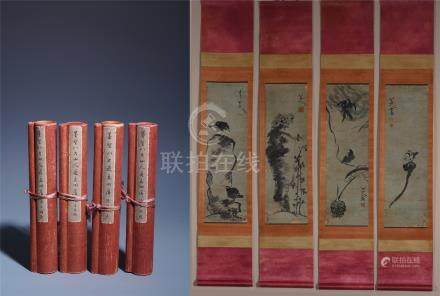 FOUR PANELS OF CHINESE SCROLL PAINTING OF BIRD AND ROCK